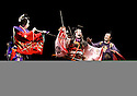 Twelfth Night after William Shakespeare,A Shochiku Grand Kabuki Production directed by Yukio Ninagawa.With  Nakamura Kanjaku V as Sir Andrew Aguecheek [centre],Ichikawa Sadanji IV as Sir Toby Belch[r]. Opens at The Barbican Theatre on 24/3/09 CREDIT Geraint Lewis