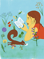 Young woman and squirrel reading books in tranquil nature ExclusiveImage