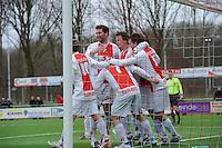 VOETBAL: EMMELOORD: Sportpark Ervenbos, 18-02-2012, Flevo Boys 1 - Drachtster Boys 1, Flevo Boys vieren doelpunt Arjen Spaan (4-1), ©foto: Martin de Jong