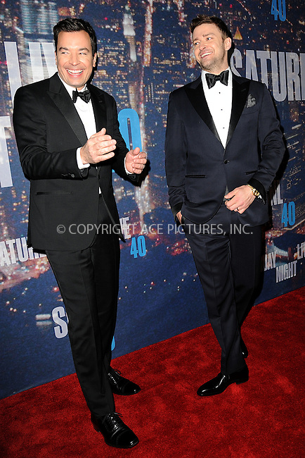 WWW.ACEPIXS.COM<br /> February 15, 2015 New York City<br /> <br /> Jimmy Fallon and Justin Timberlake walking the red carpet at the SNL 40th Anniversary Special at 30 Rockefeller Plaza on February 15, 2015 in New York City.<br /> <br /> Please byline: Kristin Callahan/AcePictures<br /> <br /> ACEPIXS.COM<br /> <br /> Tel: (646) 769 0430<br /> e-mail: info@acepixs.com<br /> web: http://www.acepixs.com