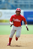 GCL Phillies Willians Astudillo #30 during a Gulf Coast League game against the GCL Yankees at Legends Field on July 17, 2012 in Tampa, Florida.  GCL Phillies defeated the GCL Yankees 4-2.  (Mike Janes/Four Seam Images)