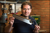 BNPS.co.uk (01202 558833)<br /> Pic: PhilYeomans/BNPS<br /> <br /> Beautiful handmade saw maker Shane Skelton from Scarborough in Yorkshire.<br /> <br /> The Heritage Craft Association have released a 'Red list' of Britains most critically endagered crafts and craftsmen.<br /> <br /> The list highlights some age old skills that are in grave danger of becoming extinct in the country formely known as the 'Workshop of the World'.<br /> <br /> According to research carried out on behalf of the HCA, four crafts have become extinct in the UK in the past 10 years &ndash; cricket ball making, gold beating, lacrosse stick making and sieve and riddle making.<br /> <br /> A further 17 crafts are classified as 'critically endangered' since they have only a handful of practitioners and few have any trainees. <br /> <br /> These include saw making, hat block making, horse collar making, paper marbling, piano making and making wooden planes for furniture. <br /> <br /> However, there are artisans scattered around the country keeping these traditional crafts alive who have long waiting lists because there is still a demand for their very specialised skills.