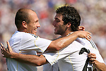 09 August 2009: Real Madrid's Gonzalo Higuain (ARG) (right) celebrates his second goal with Arjen Robben (NED) (left). Real Madrid of Spain's La Liga defeated DC United of Major League Soccer 3-0 at FedEx Field in Landover, Maryland in an international club friendly soccer match.