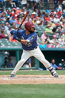 Frisco RoughRiders Tony Sanchez (55) bats during a Texas League game against the Midland RockHounds on May 22, 2019 at Dr Pepper Ballpark in Frisco, Texas.  (Mike Augustin/Four Seam Images)