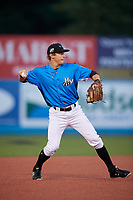 Hudson Valley Renegades shortstop Ford Proctor (7) throws to first base during a game against the Tri-City ValleyCats on August 24, 2018 at Dutchess Stadium in Wappingers Falls, New York.  Hudson Valley defeated Tri-City 4-0.  (Mike Janes/Four Seam Images)