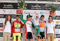 Pablo Urtasun (Euskaltel Euskadi team) wins the first stage of the Castilla and Leon 2013 Cycling Tour. Podium with Pablo Urtasun (Euskaltel Euskadi team), Francesco Lasca (Caja Rural) and Enrique Sanz (Movistar Team)The first stage of the 28th tour took place from Arevalo (Avila) to Valladolid. April 12, 2013. Valladolid, Spain. (Alterphotos/Victor J Blanco) /NortePhoto