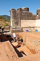 Excavations of the Temple of Artimis Sardis, originally the fourth largest Ionic temple when it was originally built in 300 B.C. In 150 AD under Roman rule when the worship  of the Emperor required all Roman cities to have a Temple dedicated to the Imperial family. The temple of Artimis was split into two sections with one half for Artemis and the Empress Faustina and the other for Zeus and Emperor Antoninus Pius and the present construction shows elements of Greek and Roman styles. Sardis archaeological site, Hermus valley, Turkey. A Harvard Art Museum excavation project.