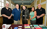 WATERBURY, CT-042418JS21- Waterbury Firefighter Lieutenant. Dan Chief; Michael Mastroianni, Chief Pharmacist at Stoll's Pharmacy in Waterbury; Nick Palermo with Waterbury Health Department; Jennifer Dewitt, Behavioral Health Director at Housatonic Valley Coalition Against Substance Abuse and Waterbury Firefighter Captain Jim Burns, at the Greater Waterbury Leadership Class' &quot;Recover Together&quot; event held at Seven Angels Theatre in Waterbury. <br /> Jim Shannon Republican American