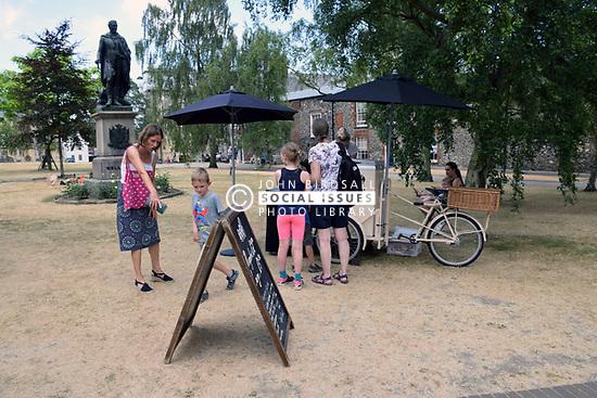 Mobile icecream vendor, Cathedral Close, Norwich UK
