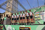 UAE Team Emirates at sign on before the start of the 112th edition of Il Lombardia 2018, the final monument of the season running 241km from Bergamo to Como, Lombardy, Italy. 13th October 2018.<br /> Picture: Eoin Clarke | Cyclefile<br /> <br /> <br /> All photos usage must carry mandatory copyright credit (© Cyclefile | Eoin Clarke)
