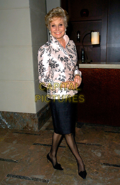 ANGELA RIPPON.The British Red Cross Celebrity Fundraising Dinner, Hotel Intercontinental, London, England..April 29th, 2007.full length black skirt pink satin floral print jacket .CAP/CAN.©Can Nguyen/Capital Pictures