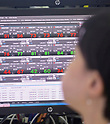 Economy, Oct 16, 2017 : A currency trader works in front of screens at a dealing room of KEB Hana Bank in Seoul, South Korea. (Photo by Lee Jae-Won/AFLO) (SOUTH KOREA)
