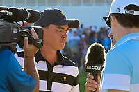 Rickie Fowler (USA) stands on 14 during interview following  round 4 Singles of the 2017 President's Cup, Liberty National Golf Club, Jersey City, New Jersey, USA. 10/1/2017. <br /> Picture: Golffile | Ken Murray<br /> <br /> All photo usage must carry mandatory copyright credit (&copy; Golffile | Ken Murray)