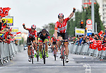 Andre Greipel (GER) Lotto-Soudal wins Stage 3, after a show of strength by his team in the very windy conditions, of the 52nd Tour of Turkey running 158.9km from Aksaray to Konya, Turkey. 26th April 2016.<br /> Picture: Tour of Turkey/Brian Hodes | Newsfile<br /> <br /> <br /> All photos usage must carry mandatory copyright credit (&copy; Newsfile | Tour of Turkey/Brian Hodes)