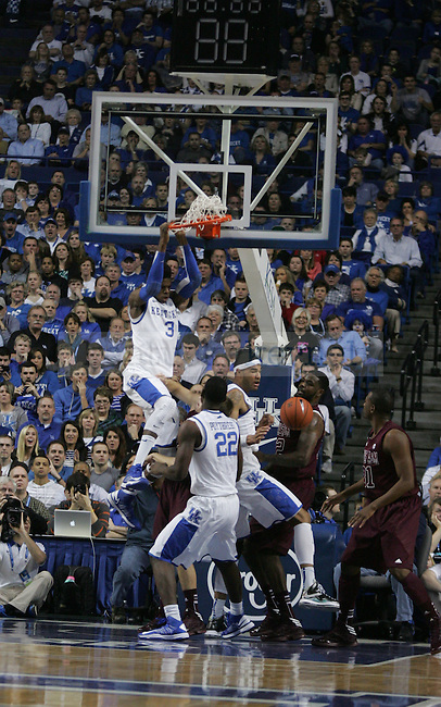 Freshmen Nerlens Noel dunks the ball during the first half of the Men's Basketball game vs. Texas A&M at the Rupp Arena in Lexington, Ky., on Saturday, January 12, 2013..