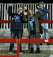 Wycombe Wanderers fans pre match<br /> <br /> during the Sky Bet League 2 match between Accrington Stanley and Wycombe Wanderers at the Wham Stadium, Accrington, England on 16 March 2016. Photo by Tony (KIPAX) Greenwood / PRiME Media Images.