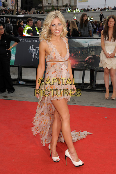 Mollie King (The Saturdays).'Harry Potter and the Deathly Hallows - Part 2' world film premiere arrivals Trafalgar Square, London, England  7th July 2011 .HP7 full length mini dress train beige grey gray low cut neckline clutch bag orange print white peep toe shoes .CAP/PL.©Phil Loftus/Capital Pictures.