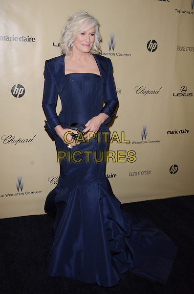 Glenn Close.The Weinstein Company's 2013 Golden Globe After Party held at The Old trader vic's at The Beverly Hilton Hotel in Beverly Hills, California, USA..January 13th, 2013.globes full length dress bolero jacket black blue .CAP/ADM/TW.©Tonya Wise/AdMedia/Capital Pictures.