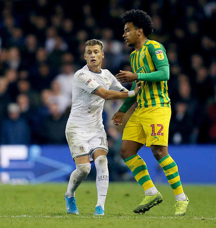 Leeds United's Ezgjan Alioski (left) and West Bromwich Albion's Matheus Pereira <br /> <br /> Photographer Rich Linley/CameraSport<br /> <br /> The EFL Sky Bet Championship - Tuesday 1st October 2019  - Leeds United v West Bromwich Albion - Elland Road - Leeds<br /> <br /> World Copyright © 2019 CameraSport. All rights reserved. 43 Linden Ave. Countesthorpe. Leicester. England. LE8 5PG - Tel: +44 (0) 116 277 4147 - admin@camerasport.com - www.camerasport.com