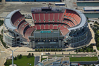 aerial view above Cleveland Browns Stadium Ohio