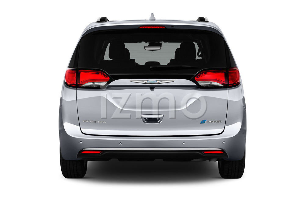 Straight rear view of 2017 Chrysler Pacifica-Hybrid Platinum 5 Door Minivan Rear View  stock images
