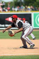 June 15th 2008:  First baseman Michael McDade of the Lansing Lugnuts, Class-A affiliate of the Toronto Blue Jays, during a game at Dow Diamond in Midland, MI.  Photo by:  Mike Janes/Four Seam Images