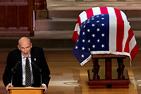 Former Sen. Alan Simpson, R-Wyo, speaks during the State Funeral for former President George H.W. Bush at the National Cathedral, Wednesday, Dec. 5, 2018, in Washington. (AP Photo/Andrew Harnik, Pool)