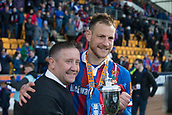 24th March 2018, McDiarmid Park, Perth, Scotland; Scottish Football Challenge Cup Final, Dumbarton versus Inverness Caledonian Thistle; Inverness Caledonian Thistle John Robertson and captain Gary Warren with the Irn Bru Cup