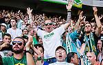Stockholm 2014-07-20 Fotboll Superettan Hammarby IF - &Ouml;sters IF :  <br /> Glada Hammarbysupportrar<br /> (Foto: Kenta J&ouml;nsson) Nyckelord:  Superettan Tele2 Arena Hammarby HIF Bajen &Ouml;ster &Ouml;IF supporter fans publik supporters glad gl&auml;dje lycka leende ler le