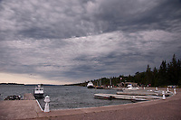 Ominous weather blankets the sky over Rock Harbor at Isle Royale National Park.