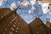 The massive NYCHA Elliot Houses complex of apartments in Chelsea in New York is seen on Friday, March 22, 2013. The city has announced that it will be building affordable housing on underused land controlled by the housing authority.  (© Richard B. Levine)