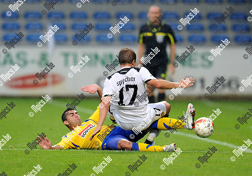 2011-08-04 / Voetbal / season 2011-2012 / Uefa Europa League, third qualifying round / KVC Westerlo - BSC Young Boys / Liliu (L, West) with Christoph Spycher (17, YB)..Foto: mpics