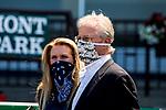 JULY 04, 2020 : Bill Mott, trainer od Frank's Rocket, the Grade 3 Victory Ride Stakes, going 6.5 furlongs, at Belmont Park, Elmont, NY.  Sue Kawczynski/Eclipse Sportswire/CSM