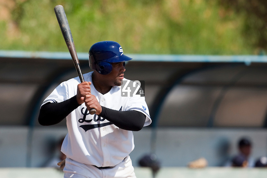 24 May 2009: Carlos Jiminian of Savigny is seen at bat during the 2009 challenge de France, a tournament with the best French baseball teams - all eight elite league clubs - to determine a spot in the European Cup next year, at Montpellier, France. Rouen wins 7-5 over Savigny.