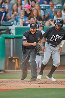 Umpire Nestor Cena handles the calls behind the plate during the game between the Salt Lake Bees and the El Paso Chihuahuas at Smith's Ballpark on August 17, 2019 in Salt Lake City, Utah. The Bees defeated the Chihuahuas 5-4. (Stephen Smith/Four Seam Images)