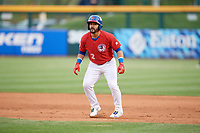 Buffalo Bisons second baseman Devon Travis (2) leads off first base during a game against the Scranton/Wilkes-Barre RailRiders on May 18, 2018 at Coca-Cola Field in Buffalo, New York.  Buffalo defeated Scranton/Wilkes-Barre 5-1.  (Mike Janes/Four Seam Images)