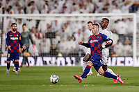 1st March 2020; Estadio Santiago Bernabeu, Madrid, Spain; La Liga Football, Real Madrid versus Club de Futbol Barcelona; Arthur Melo (FC Barcelona) plays the ball under pressure