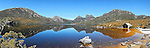 A panoramic view of Dove Lake and Cradle Mountain in Tasmania, Australia