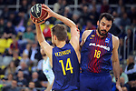 League ACB-ENDESA 2017/2018 - Game: 27.<br /> FC Barcelona Lassa vs Real Betis Energia Plus: 121-56.<br /> Sasha Vezenkov &amp; Pierre Oriola.