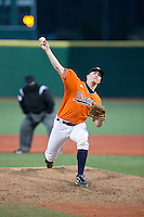 Virginia Cavaliers closer Josh Sborz (27) in action against the Seton Hall Pirates at The Ripken Experience on February 28, 2015 in Myrtle Beach, South Carolina.  The Cavaliers defeated the Pirates 4-1.  (Brian Westerholt/Four Seam Images)