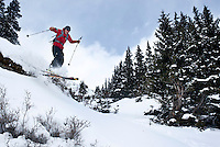 Colorado Avalanche Information Center (CAIC)Avalanche Forecaster Tim Brown (cq) skis down Coon Hill near Summit County after doing tests on snow pack in Colorado, Thursday, February 16, 2012. Tests at this area showed that there was a fairly hard slab of snow resting on weaker snow beneath making conditions which can lead to avalanches...Photo by Matt Nager