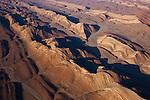 Namibia, Namib Desert, aerial view of mountain ridges at Ugab River