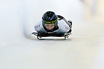 18 November 2005: Katie Uhlaender of the USA slides down the track to take 3rd place at the 2005 FIBT World Cup Women's Skeleton competition at the Verizon Sports Complex, in Lake Placid, NY. Mandatory Photo Credit: Ed Wolfstein.