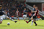 Mark Duffy of Sheffield Utd has a shot on goal during the championship match at the Bramall Lane Stadium, Sheffield. Picture date 14th April 2018. Picture credit should read: Simon Bellis/Sportimage