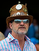 LOUISVILLE, KY - MAY 04: A man wears a hat decked out with Kentucky Derby pins on Kentucky Oaks Day at Churchill Downs on May 4, 2018 in Louisville, Kentucky. (Photo by Scott Serio/Eclipse Sportswire/Getty Images)