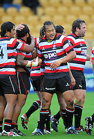 Tana Umaga congratulates Counties prop Simon Lemalu on his try. ITM Cup rugby match - Taranaki v Counties-Manukau Steelers at Yarrow Stadium, New Plymouth, New Zealand on Sunday 12 September 2010. Photo: Dave Lintott/lintottphoto.co.nz.
