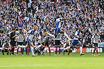 Grimsby Town players celebrate victory in  the 2015 Vanarama Conference Promotion Final match between Grimsby Town and Bristol Rovers at Wembley Stadium, London<br /> Picture by David Horn/eXtreme aperture photography +44 7545 970036<br /> 17/05/2015