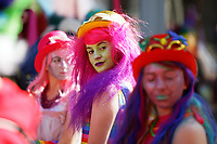 Pictured: Parade participants with glitter make-up. Saturday 04 May 2019<br /> Re: Swansea Pride Parade in south Wales, UK.