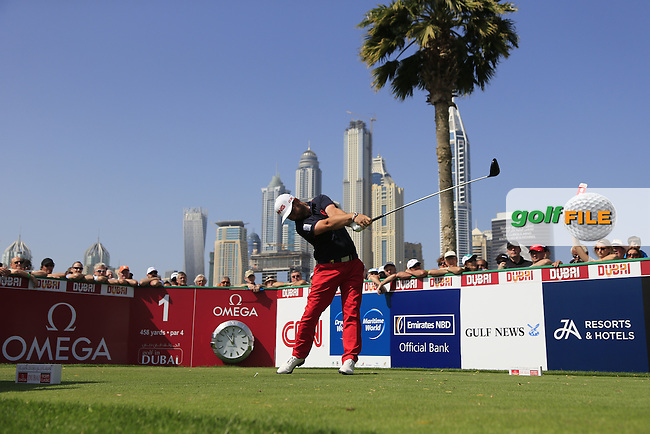 Andy SULLIVAN (ENG) tees off the 1st tee during Sunday's Final Round of the 2015 Omega Dubai Desert Classic held at the Emirates Golf Club, Dubai, UAE.: Picture Fran Caffrey, www.golffile.ie: 2/1/2015