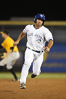 Dunedin Blue Jays catcher Jorge Saez (12) runs the bases during a game against the Bradenton Marauders on April 14, 2015 at Florida Auto Exchange Stadium in Dunedin, Florida.  Bradenton defeated Dunedin 7-1.  (Mike Janes/Four Seam Images)